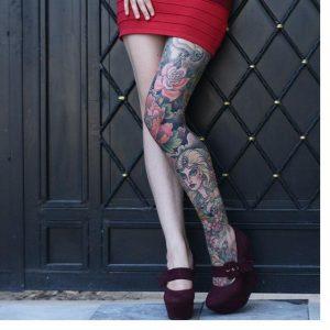 Yeni Kadınlar için Bacakta Dövme Modelleri 2017